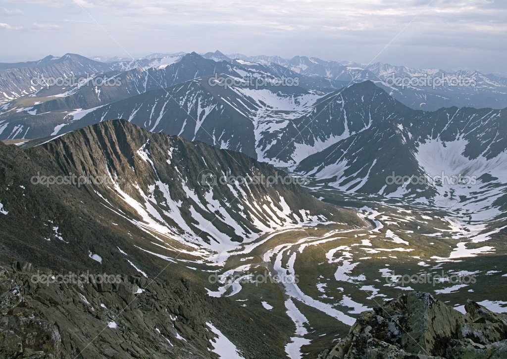 Subpolar Ural mountains, view from mountain Narodnaya